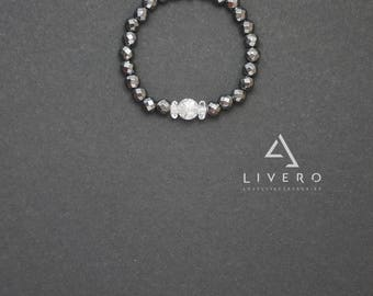 Womens HEMATITE bracelet. Hematite bracelet with pendant. LOVE pendant. Hematite bracelet. Silver color HEMATITE bracelet. Pendant bracelet