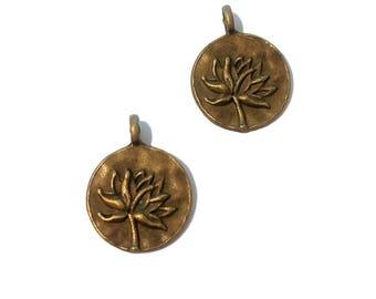 Lotus pendant etsy 4 or 10 bulk lotus pendants bronze lotus hammered lotus charm lotus pendant mozeypictures Image collections
