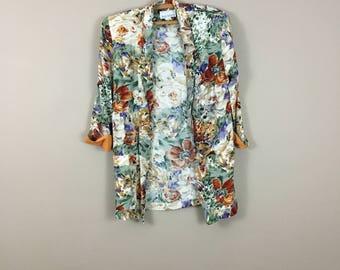 90's Floral Longline Blazer