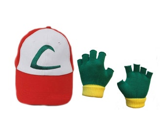 POKEMON Ash Ketchum Children's Costume - Trainer Hat & Gloves Bundle Ages 5-14