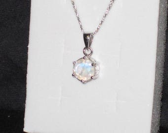 Moonstone Gemstone Solid Sterling Silver Necklace