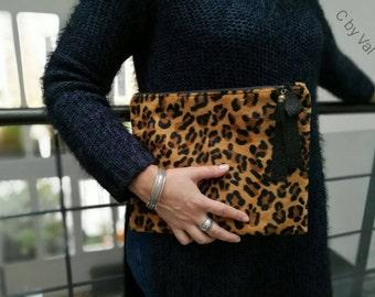 Havana pouch - Faux fur - Leopard print - FRANCE
