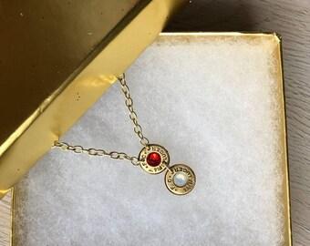 Personalized Swaroviski Crystal Birthstone Bullet Necklace