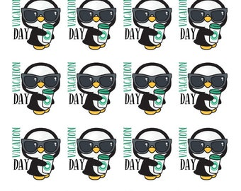 Penguin Vacation Day Planner Stickers - All Planner Sizes - Erin Condren, Happy Planner, Recollections, Paper Plum, TN