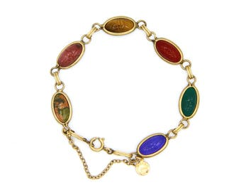 12k GF Scarab Bracelet, Semiprecious Bracelet, Egyptian Revival Jewelry, Antique D'or Jewelry, Multicolored Bracelet, Carved Beetle Bracelet