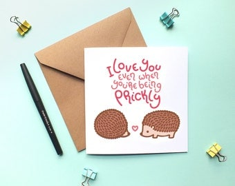 Cute hedgehog card. I love you even when you're being prickly.  Anniversary card. I love you card. Valentine's day card. Greetings card