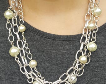 Multi Strand Chain and Pearl Necklace