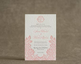 Letterpress Wedding Invitation Printing Pink Floral Monogram thick paper 2 colors