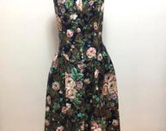 Vintage Floral Navy Blue Sundress