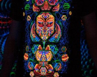 T-Shirt TERRAFORMER, fluorescent glow, blacklight, psy trance, party, festival, psychedelic, club, trancewear, visionary art, space shamanic