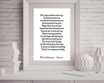 Bedroom Decor Love Poem, Shakespeare Quote, Shakespeare Wall Art, Love Poetry Art, Sonnet 29 , When In Disgrace With Fortune and Men's Eyes
