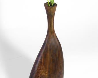6604 Hand Carved Black Walnut Natural Vase