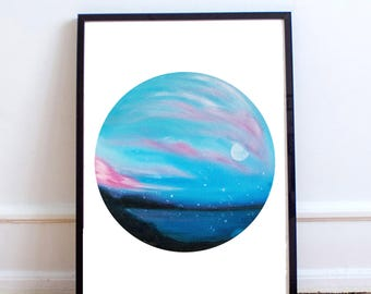 Cotton Candy Cloud Painting Print | Geometric Print | Circle Painting | Home Decor