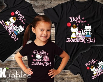 Hello Kitty Birthday Party Shirt, Personalized shirts, Custom Family Set Shirts, Available in Black for Girl