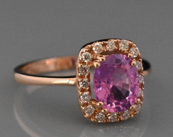 18K Rose Gold Pink Sapphire & Diamond Ring | Engagement Ring | Wedding Ring | Statement Ring | Handmade Fine Jewelry | Diamond Halo |