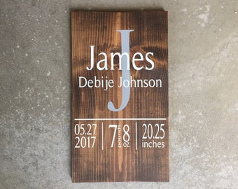 Custom Birth Announcement Wood Sign | Personalized Birth Stats Sign | Baby Gift | Birth Sign | Baby Announcement | Nursery Decor Initial