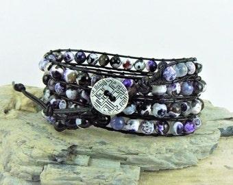 Agate Wrap Bracelet, Leather Wrap, Beaded Bracelet, Purple Dragon Vein, Boho Bracelet, Beaded Leather, Agate Wrap, Leather Bracelet, Agate