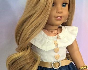 """Custom 10-11"""" Wig Fits Most 18"""" Dolls """"Ginger Ale Swirl"""" Blonde wth Natural Highlights Heat Safe"""