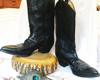 Vintage Justin's Black Genuine Leather Cowboy Boots Women's Size 8.5 Cowgirl Western Style Topstitching Made in US Hippie Boho Gypsy
