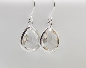Earrings Silver drops Crystal earrings