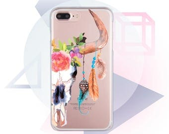 Cow Skull iPhone 7 Case Clear Case for iPhone 7 Plus Clear iPhone SE Case Pink iPhone 6s Case Skull iPhone 6 Case Clear iPhone X Case MC1063
