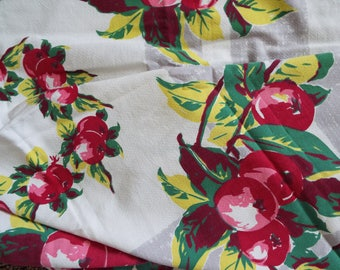 Vintage Apples Apple Blossom Square Linen Table Cloth