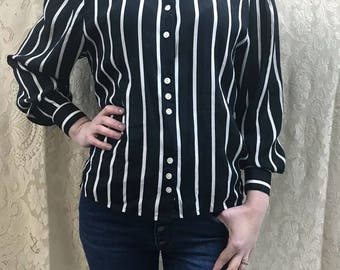 High collar Striped blouse ( Jeunesse)
