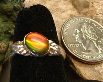 Ammolite Ring Sterling Silver OOAK Boho Wings to Fly Statement Ring Size 9 Silver Statement Jewelry Red Orange Green Fire   337 B