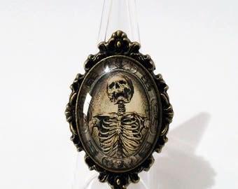 ring camafeo memento mori adjustable one size bronze human skull death mortality tempus fugit vanitas gothic occult medieval macabre dark