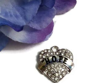 1 Pc Hope Crystal Heart Pendant Charm - Rhinestone Cancer Jewelry