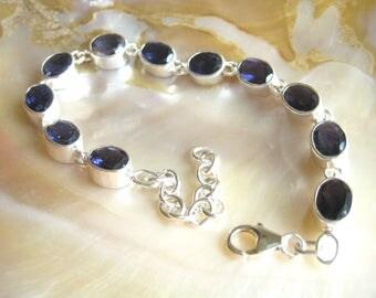 Iolite Bracelet, Cordierite Bracelet, Iolith Jewelery, Gemstone Bracelet, Blue Bracelet, Silver Jewelery, Adjustable Bracelet, Blue Stones