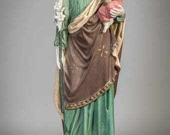 "16"" Large Antique Plaster Statue Saint Joseph w Child Jesus Religious Figure 7"