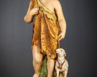 "Beautiful 17"" Young Saint John the Baptist Plaster Statue Child Antique Figure Infant St Figurine"