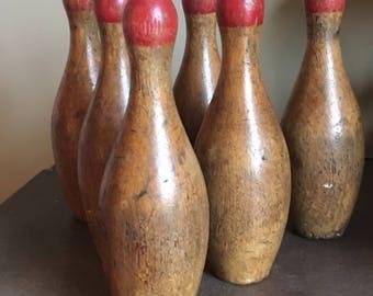Antique Bowling Pin Set
