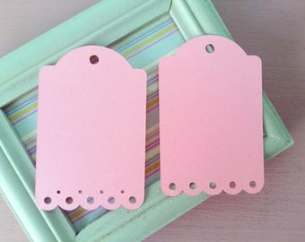 Set of 10 25 50 Scalloped Rectangular Rose Pink Cardstock Blank Tags Hang Tags Item Labels Gift Tag Die Cut DIY Embellishment Scrapbooking