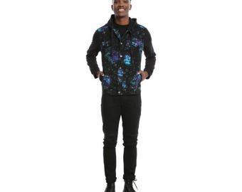 Rude Galaxy Print Denim Black Fleece Hooded Jacket
