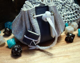 Silver and Blue Leather Dungeons and Dragons Dice Bag Pouch