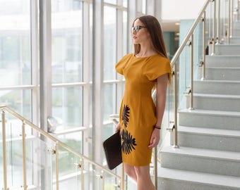 Business Dress, Avant Garde Dress, Hand Made Clothing, Mustard Dress, Elegant Dress, Short Sleeve Dress, Shift Dress, Chic Dress