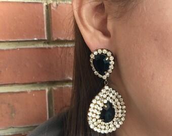 Big Black/Golden Handmade Earrings, Black/Golden Statement Earrings, Black/Golden Bridesmaid Earrings, Night Earrings, Wedding Earrings
