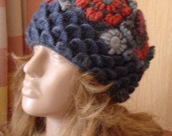 Freeform Crochet Beanie Hat , OOAK Gray-red Tones, OOAK Wearable Art