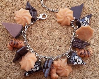 Sweet bracelet, Biscuits&Chocolate bracelet, Polymer clay bracelet, Polymer clay jewelry, Handmade jewelry, Gift idea
