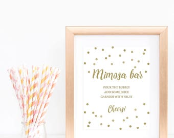 Gold Confetti Baby Shower Decorations Gender Neutral Gold Mimosa Bar Sign Gold Glitter White and Gold Baby Shower Signs Bubbly Bar Sign GCO