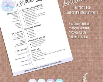 Digital Social Resume And Sorority Recruitment Packet | Resume, Cover,  Business Card  Sorority Recruitment Resume