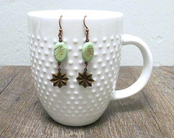Copper Earrings - Vintage Earrings - Star Earrings - Copper Star - Beaded Earrings - Dangle Earrings - Unique Earrings - Gift for Her