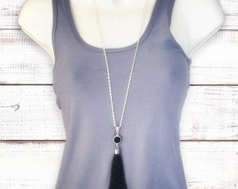 Black Druzy Tassel Necklace, Long Tassel Necklace. Long Druzy Necklace, Druzy Tassel