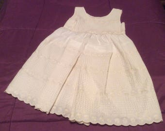 Girls White pleated Sundress size 4