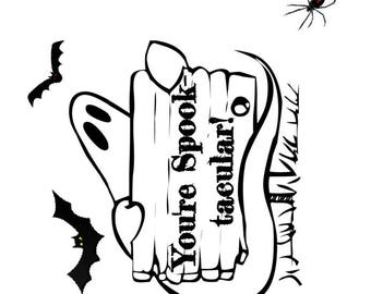 Halloween party favor stickers, square stickers, lip balm stickers, custom text sticker, Halloween sticker, ghost sticker