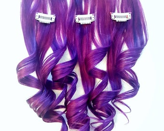 AMETHYST PURPLE UNICORN Hair Extensions, Mermaid Hair Extensions, Human Hair Extensions, Colored Hair Extensions, Clip In Hair Extensions