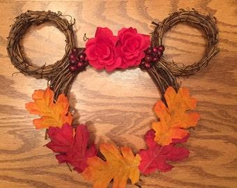 Disney Fall Wreath| Disney Autumn Wreath| Mini Disney Wreath| Disney Leaves Wreath| Disney Floral Wreath