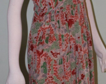 "Size small, 1940's silk dress, great graphic, 27"" waist"